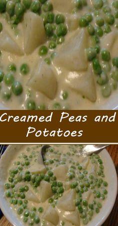 Pea Recipes, Side Dish Recipes, Vegetable Recipes, Cooking Recipes, Healthy Recipes, Potato Recipes, Potato Side Dishes, Vegetable Side Dishes, Creamed Peas And Potatoes