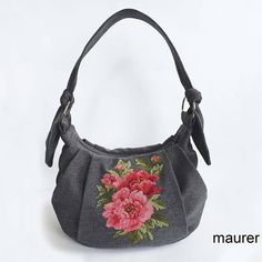 """This elegant gray fabric bag with hand-embroidered pink peonies will appeal to any woman."""