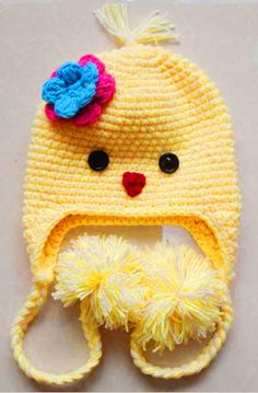 Baby chick hat. Cute idea that can be made on a loom!