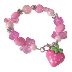 Kinderarmbandje met roze aardbei bedel - Twinkelbell