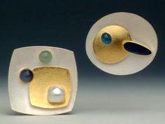 Silver gold pearl Earrings,