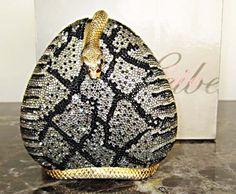 Judith Leiber Black White Crystal Snake Handbag Rare Vintage