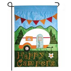 Road Trip! New Applique Camping Flag. | Happy Campers Garden Flag | From our house. To your home. HouseFlags.com