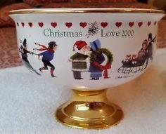 Christmas is Love 2000 Teleflora Exclusive Charles Wysocki Pedestal Bowl