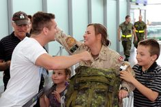 Troops return home  Cpl Éric Lebel welcomes his spouse, Cpl Karine Morin at Jean-Lesage Airport in Quebec City. #StrongProudReady