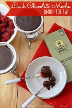 Fondue is the perfect interactive course for Valentine's Day. Here's a Dark Chocolate Mocha Fondue by www.katiescucina.com