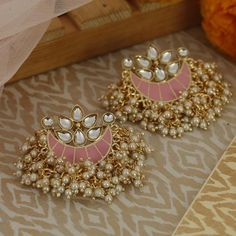 Choose from our unique collection of classy and trendy stud earrings at reasonable prices for formal and party wear Indian Jewelry Earrings, Indian Jewelry Sets, Fancy Jewellery, Jewelry Design Earrings, Indian Wedding Jewelry, Ear Jewelry, Stylish Jewelry, Fashion Jewelry, Women Jewelry