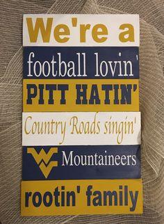 West Virginia Mountaineers Sign, West Virginia, Mountaineers by BrinWood on Etsy https://www.etsy.com/listing/496463155/west-virginia-mountaineers-sign-west