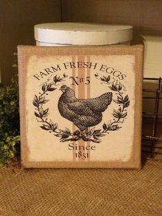 Farm Fresh EggsChicken SignBurlap by DaisyPatchPrimitives on Etsy