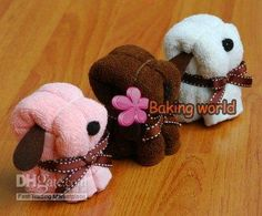 Towel Cakes  Weddings on Free Shipping   100pcs Lot Puppy Dog Towel Towel Cake For Wedding