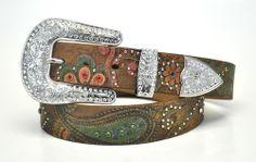 New Nocona Ladies Western Rhinestone Bling Leather Belt Buckle Brown | eBay
