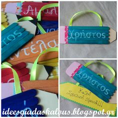 First day at school School Gifts, Student Gifts, Teacher Gifts, Hobbies And Crafts, Diy And Crafts, Crafts For Kids, 1st Day Of School, Primary School, Name Activities