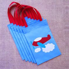 Airplane Favor Bags : Set of 6 Propeller Airplane Party Goodie Bags red blue handle party birthday decorations