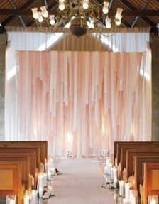 Rose ~ Blush Wedding Backdrop for Ceremony Decor -- Pretty! I had never thought to do strips of fabric before. Love the idea of these hanging from the trees around the ceremony location? Wedding Ceremony Ideas, Bali Wedding, Ceremony Backdrop, Ceremony Decorations, Diy Wedding, Dream Wedding, Wedding Day, Backdrop Ideas, Indoor Wedding