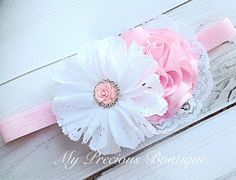 Light pink and white headband or clip, baby girl headband,newborn headband,photography prop, baby pi Newborn Headbands, Baby Girl Headbands, Baby Bows, Bow Hairband, White Headband, Headband Hairstyles, Pretty Hairstyles, Ribbon Bows, Ribbons