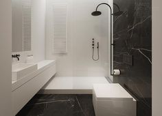 love the simple shower and cool how counter space goes into shower and can be used as sitting ledge