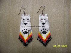 Native American Beaded Earrings   Hand Seed Bead White Wolf Native style beaded earrings