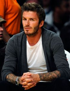 White T's and men's cardigan..David makes everything look hot! lol