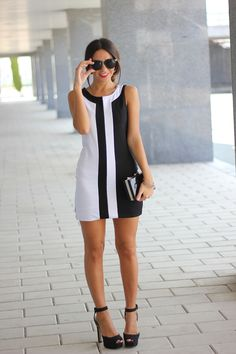 Black & White Dress ~ Summer Into Fall Outfits ~ 60 New Styles - Style Estate - Más Cute Dresses, Casual Dresses, Short Dresses, Dresses For Work, 60s Dresses, Fashion Dresses, Peplum Dresses, Pencil Dresses, Woman Dresses