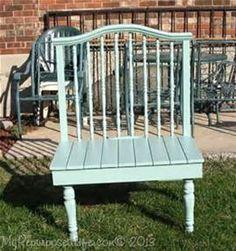 My Repurposed Life--crib (baby bed) bench Baby Bed Bench, Crib Bench, Headboard Benches, Crib Rail, Repurposed Furniture, Vintage Furniture, Painted Furniture, Reclaimed Furniture, Repurposed Wood
