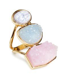 Gold metal ring with stacked pastel gemstone beads. | H&M Pastels