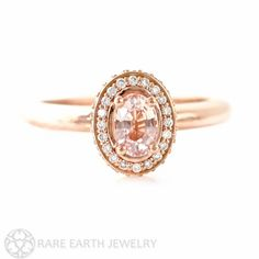14K Peach Sapphire Engagement Ring Baby Pink Sapphire by RareEarth