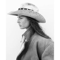 """The Cowgirl Gift Guide - Riding high in October """"Mr. America,"""" shot by David Sims and styled by Alex White. Cowgirl Photo, Cowboy And Cowgirl, Cowgirl Style, Cowboy Hats, David Sims, Alex White, Black And White, Cowgirls, Michaela Bercu"""