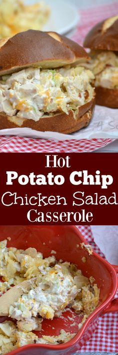 An easy homemade chicken salad, this version is creamy, cheesy, and full of texture. Even better? Our Hot Potato Chip Chicken Salad Casserole is served warm and it's topped with salty potato chip crumbs for a fun, non-traditional topping.