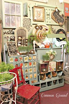 Common ground: spring open house at leola's vintage home and garden antique store displays,