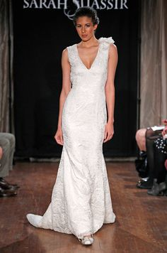 Wedding dress with straps from Sarah Jassir, Spring 2013