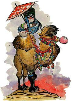 Pigù on Camel. ..