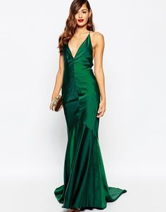 Image 4 ofASOS RED CARPET Deep Plunge Soft Fishtail Maxi Dress