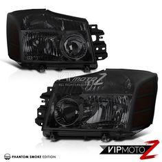 SMOKE For 2004-2014 Titan V8 5.6L Dark Front Headlights 04-07 Armada LEFT+RIGHT #VIPMOTOZ 2005 Nissan Titan, Rear Wheel Drive, Pickup Trucks, Cool Cars, 4x4, Smoke, Dark, Smoking, Acting