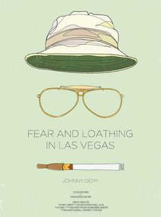Fear and Loathing in Las vegas poster. I like how minimalistic this poster is, it shows some particular accesoires that make Johnny Depp's role so eccentric. Best Movie Posters, Minimal Movie Posters, Minimal Poster, Movie Poster Art, Cool Posters, Creative Posters, Film Posters, Poster Love, Poster Shop