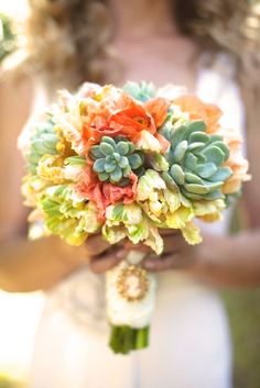 succulent bouquet fall colors cameo