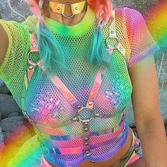 Edm Outfits, Rave Girl Outfits, White Rave Outfits, Neon Rave Outfits, Rave Party Outfit, Pastel Goth Outfits, Aesthetic Clothes, Goth Aesthetic, Aesthetic Pastel