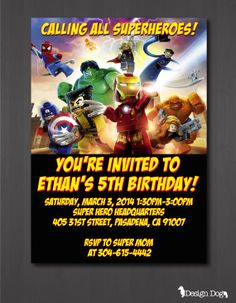 This Shop On Etsy Sells Lego Marvel Superheroes Themed Birthday Party Supplies Cough