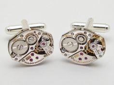 Steampunk cufflinks vintage Bulova watch movements gears wedding anniversary grooms gift silver cuff links men jewelry Steampunk Nation 1980 #steampunkcufflinks #steampunkjewelry #weddingjewelry