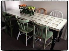 Kitchen Table Made From Old Door Legs Pallet Things I Have Pinterest Tables Pallets And