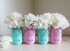 Baby Teal and Baby Pink Distressed Mason Jars. by MyHeartByHand