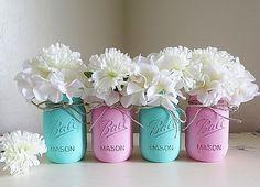 Distressed Mason Jars, Painted Mason Jars, Mason Jar Vases, Teal And Gray, Country Decor, Teal photo - 3
