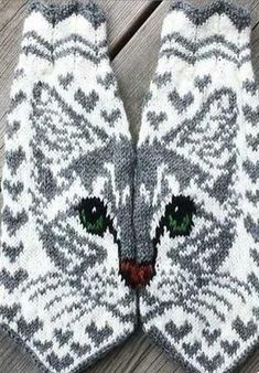 Knitting Socks Cat Yarns Ideas For 2019 Double Knitting Patterns, Knitted Mittens Pattern, Fair Isle Knitting Patterns, Knitted Cat, Knit Mittens, Knitting Charts, Knitted Gloves, Knitting Socks, Free Knitting