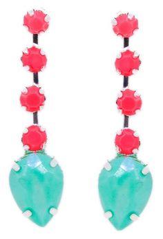 #r29summerstyle   Peach & Mint Drop Earrings from ShopJeen.com. $24. Get 50% off from R29 Shops here: www.refinery29.co...