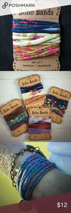 """Natural Life Set of 3 Boho Bands Sold in sets of 3, Boho Bands can be worn as headbands, pony holder, or wrapped around your wrist for a unique and stylish bracelet. As cute as they are versatile. 20"""" around, 100% polyester, each band 10"""" L x .25"""" W. Blue & Yellow set. Bundle & saveon 2+ items! Boho Bands Accessories Hair Accessories"""