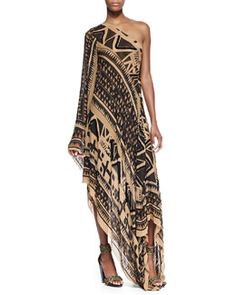B2FQU Donna Karan Embroidered One-Sleeve Asymmetric Printed Caftan
