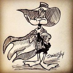 Daffy Darkwing #crossover #doodle #latenightideas #daffyduck #darkwingduck #warnerbros #disney #sketch #pen #artwork #fanart
