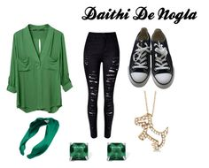 """Daithi De Nogla Inspired Female Outfit"" by sharzard15 ❤ liked on Polyvore featuring WithChic, Converse, Allurez, L. Erickson and Palm Beach Jewelry"