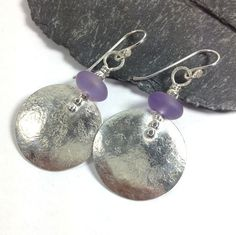 Large round silver and amethyst earrings  £40.00