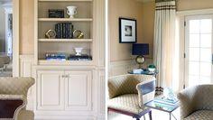 Library | Morgan Harrison Home | custom woodwork, burlap grasscloth wallpaper, barrel chairs, midcentury brass bookends