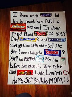 50th Birthday Candy Poster Board! So cute and easy